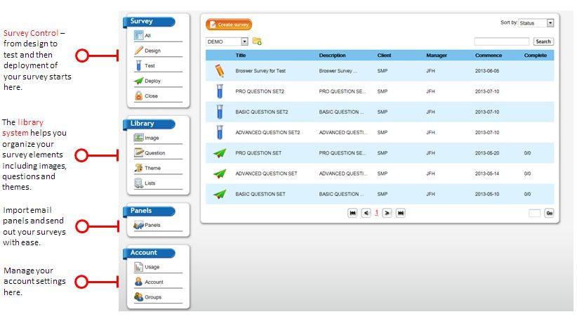 SMP survey software dashboard